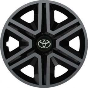 "Tapacubos para TOYOTA 15"", ACTION DOUBLECOLOR GRAFITO-NEGRO 4 pzs"