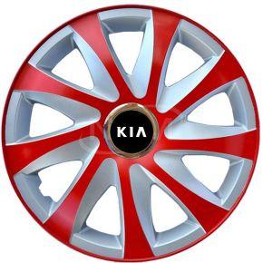 """Tapacubos para KIA 14"""", DRIFT EXTRA rojo-plata 4pzs"""