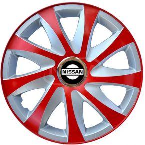 """Puklice pre NISSAN 16"""", DRIFT EXTRA červeno-strieborné 4ks"""