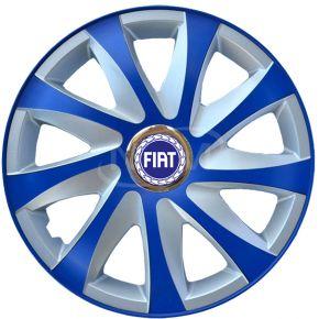 """Tapacubos para FIAT 14"""", DRIFT EXTRA azul-plata  4pzs"""
