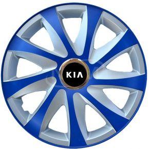 """Tapacubos para KIA 15"""", DRIFT EXTRA azul-plata  4pzs"""