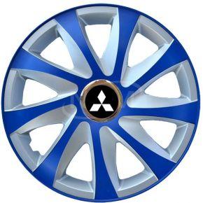 """Tapacubos para MITSUBISHI 15"""", DRIFT EXTRA azul-plata  4pzs"""