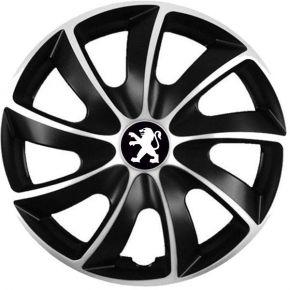 """Puklice pre Peugeot 15"""", Quad bicolor, 4 ks"""