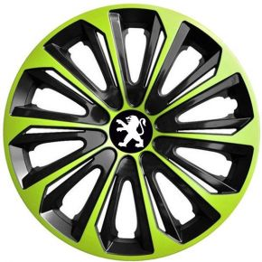 "Tapacubos para PEUGEOT 16"", STRONG DUOCOLOR VERDE-BLANCO 4 pzs"