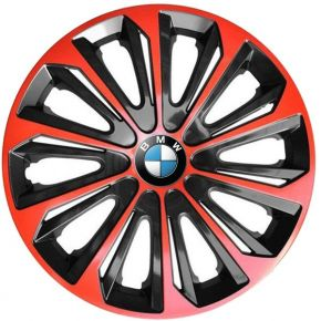 "Tapacubos para BMW 15"", STRONG DUOCOLOR ROJO-NEGRO 4 pzs"