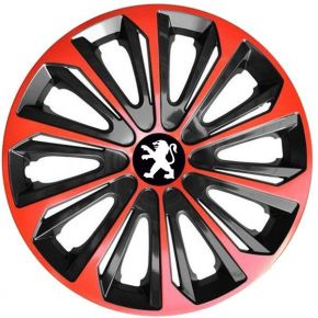 "Tapacubos para PEUGEOT 16"", STRONG DUOCOLOR ROJO-NEGRO 4 pzs"