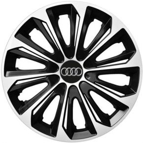 "Tapacubos para AUDI 15"", STRONG DUOCOLOR NEGRO-BLANCO 4 pzs"