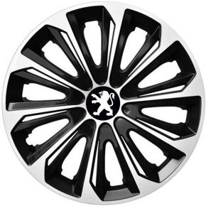 "Tapacubos para PEUGEOT 16"", STRONG DUOCOLOR NEGRO-BLANCO 4 pzs"